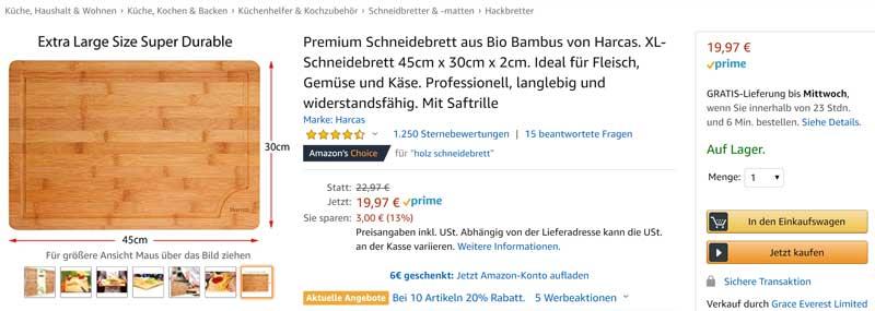 Schneidebrett mit Bewertungen bei Amazon.