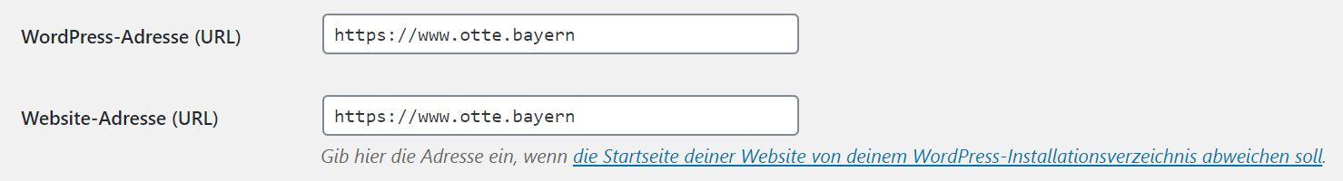 Website-Adresse in WordPress